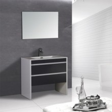 Chinese Bathroom Modern Curve Standing Mixed Color Cabinet With Mirror
