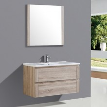 Single Mirror Wall Mounted PVC Curved Bathroom Cabinet