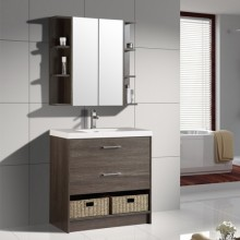 Wall Mounted Space Saving Furniture Ceramic Basin PVC Bathroom Cabinet