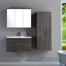 EU Design Wall Storage Bathroom Sink Black Pine Cabinets