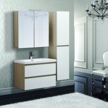 Environmental LED Mirror Double Sink Mixed Color Bathroom Cabinet